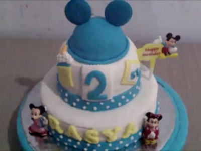 How to Make Mickey Mouse Two Tier Fondant Cake