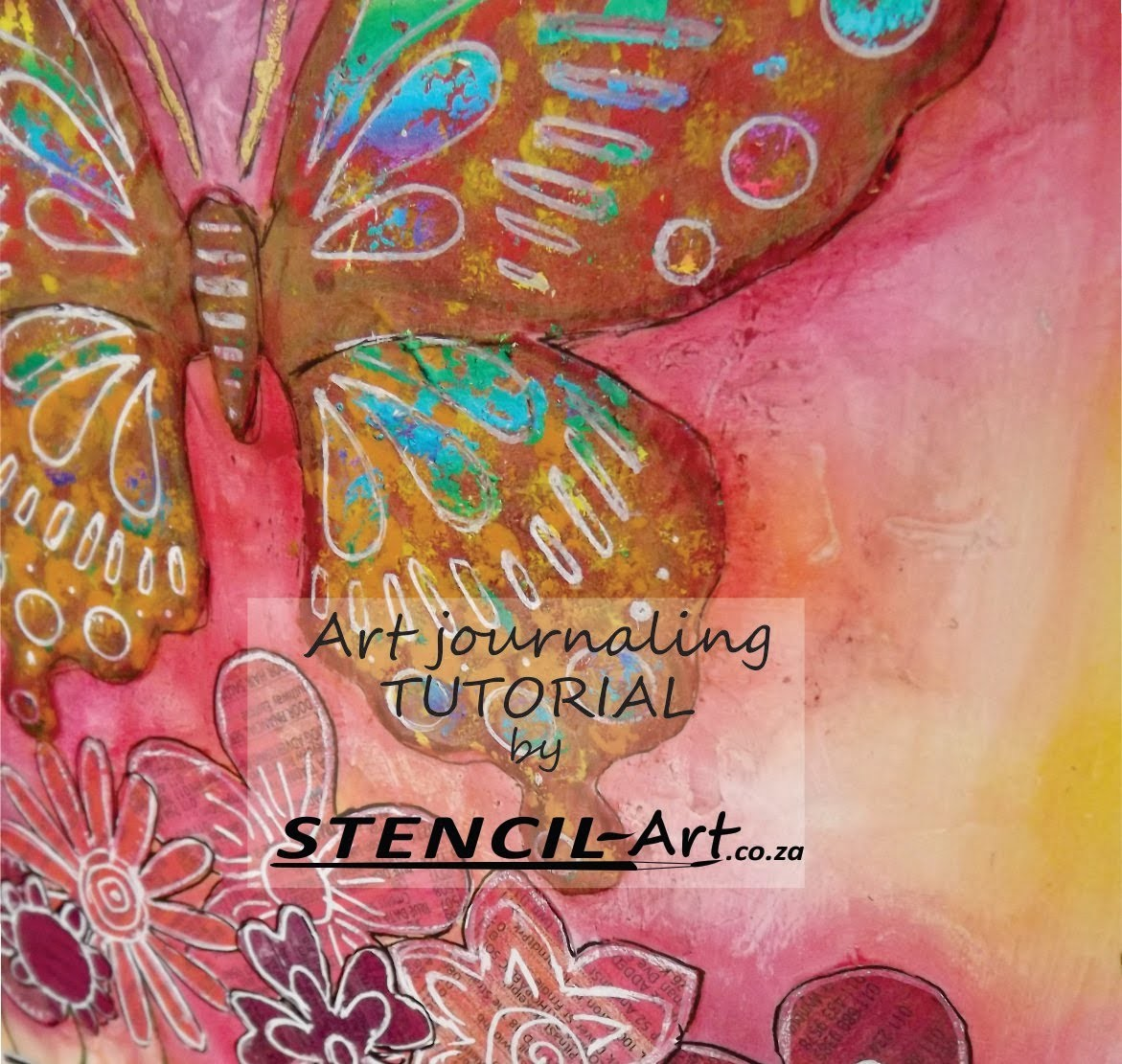 Art Journal Tutorial with Distress Ink Background & layered Butterfly.