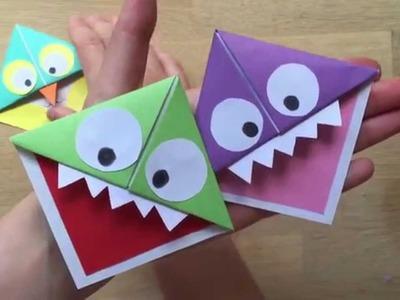 Easy Paper Monster & Owl Corner Bookmarks