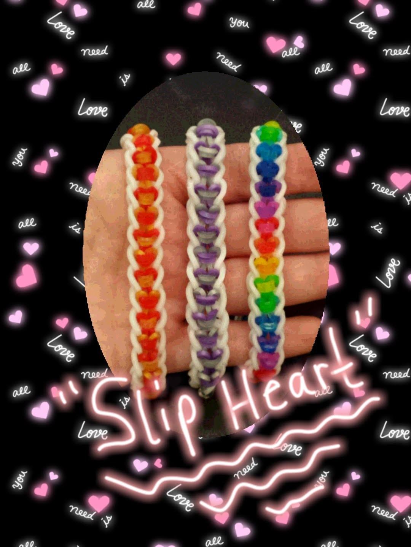 "NEW ""Slip Heart"" Rainbow Loom Bracelet.How To Tutorial"