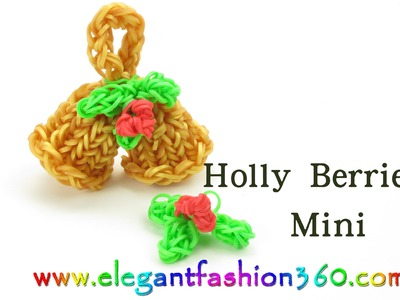 Rainbow Loom Mini Holly Berries Charm for Jingle Bells - How to Loom Bands Tutorial
