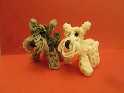 Rainbow Loom Schnauzer Dog or Puppy Charm. 3-D