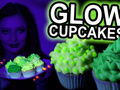 How to make Green GLOW in the dark Cupcakes - UV reactive! - DIY Halloween Food ideas