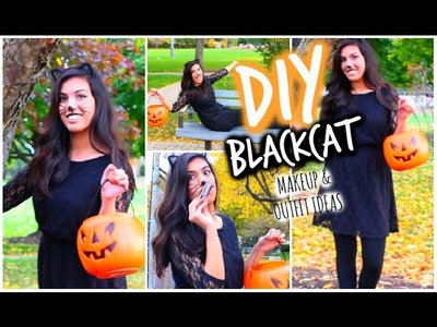 Black Cat DIY Halloween Makeup + Costume.Outfit Ideas! 2014 | Last Minute!