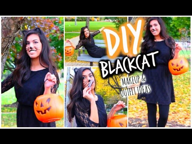 Black Cat DIY Halloween Makeup + Costume.Outfit Ideas! 2014 | Last Minute!