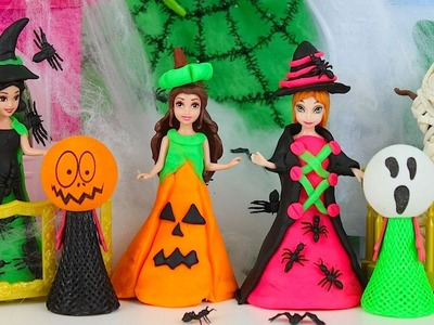 Play Doh Disney Princess Halloween Costumes DIY Frozen Anna Belle Tiana Snow White