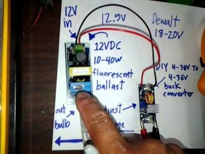 DIY 12-20V DC fluorescent+ballast for dewalt light