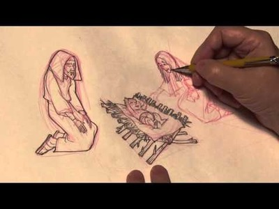 How to draw Mary from the Nativity