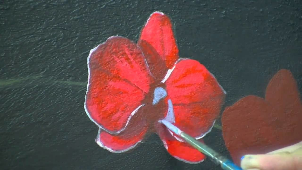 Red Orchids time lapse acrylic speed painting by TIm Gagnon http:.www.timgagnonstudio.com