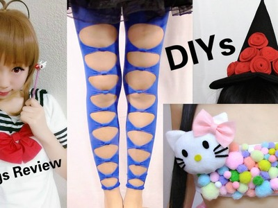3 Last Minute Halloween DIYs: DIY Hello Kitty Costume+Bow tights+Witch Hat + Anime Wig Review