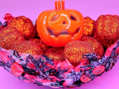 DIY Halloween Accent Bowl - How to Make Halloween Pumpkin Decor Bowls!