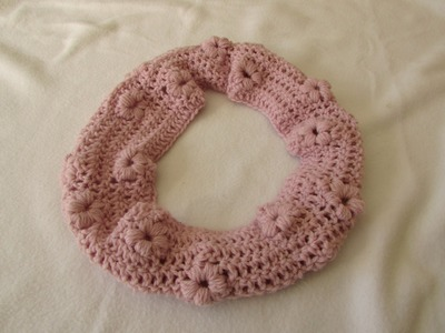 How to crochet a puff stitch flower cowl. scarf. snood