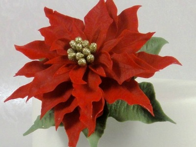 How to Make a Christmas Poinsettia Sugar Flower Gum Paste Cake Decorating Tutorial using Jem Cutters
