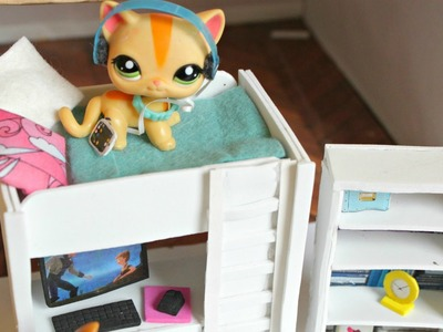 LPS DIY How to make an LPS bunkbed with desk Littlest Pet shop EASY