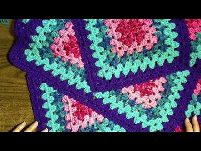 Squared Diamond Granny Throw - How to - Left handed