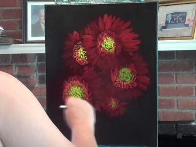 """""""Sunny Flowers"""" Floral speed painting on black canvas"""