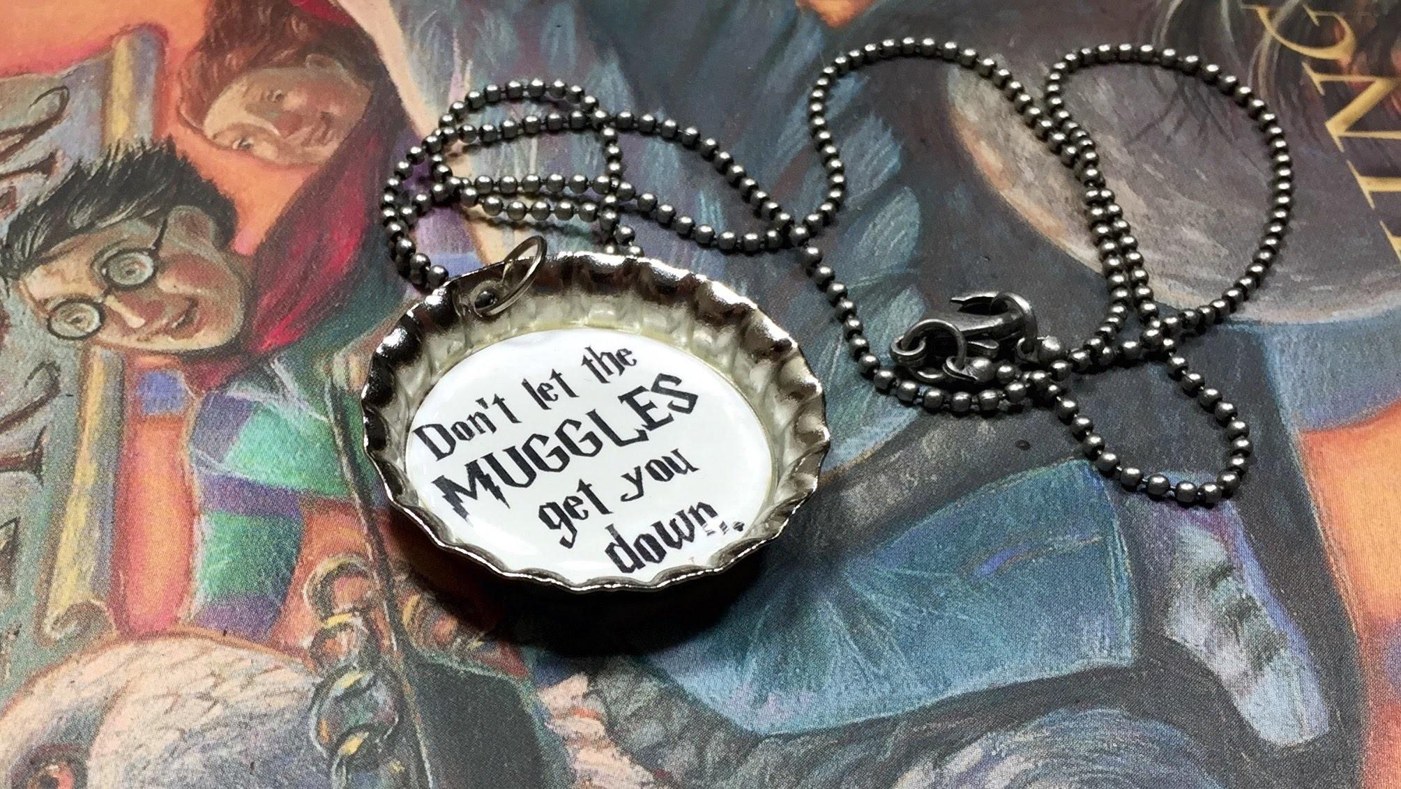 DIY Harry Potter bottle cap charm necklace!