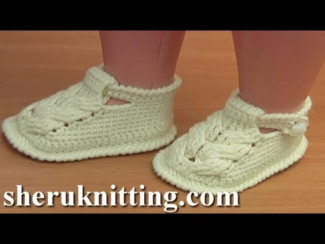 How to Crochet Baby Cable Stitch Buckle Booties Tutorial 54 Part 3 of 3