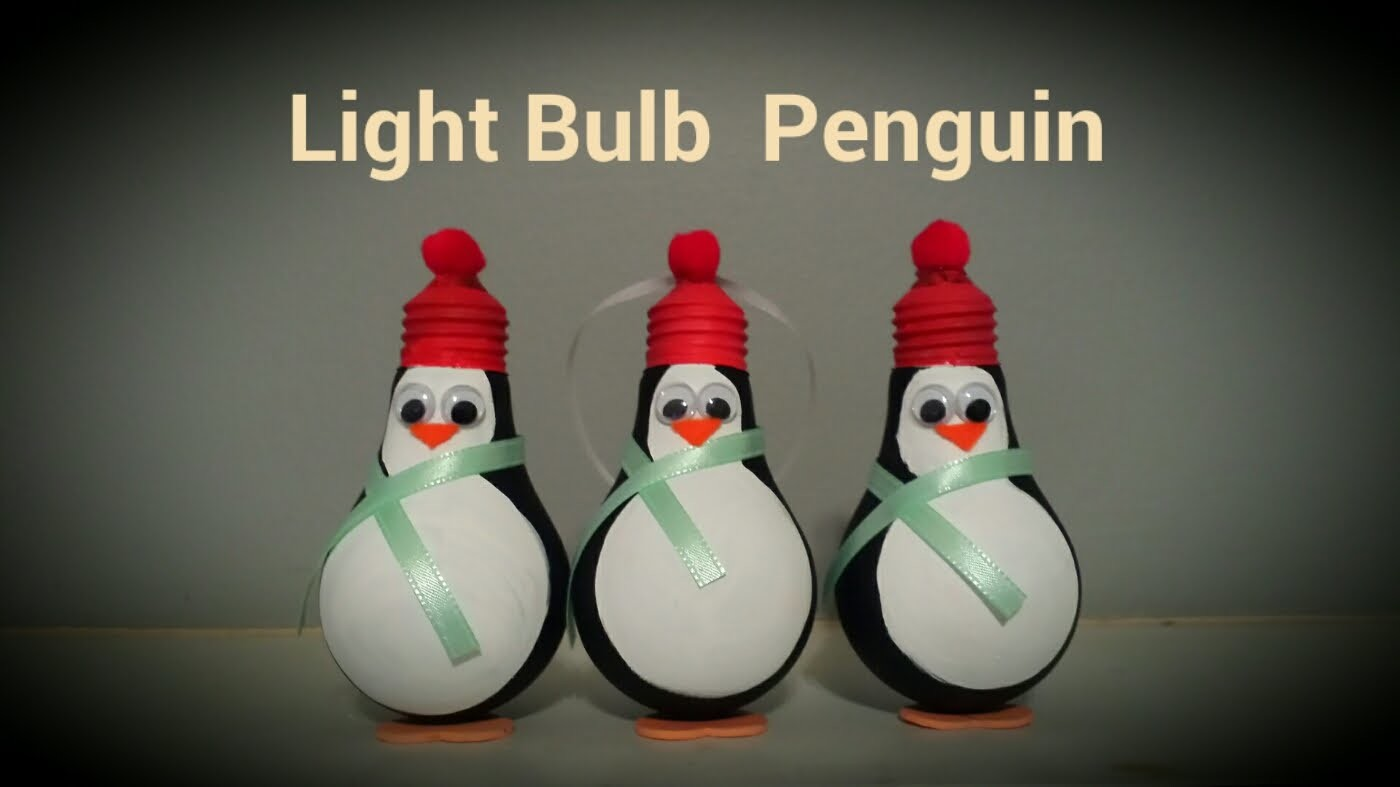 Light Bulb Penguin Christmas Ornament | By Craft Happy Summer