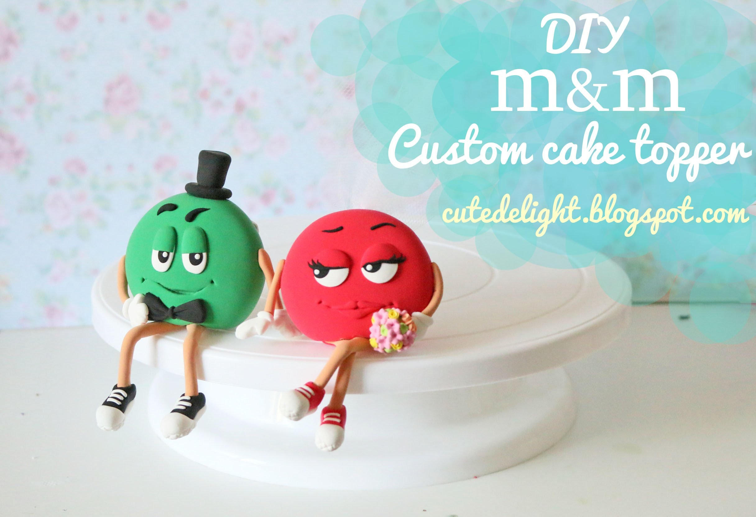 Cute Delight - m&m wedding cake topper tutorial - how to make DIY time lapse - 1 h = 30 sec