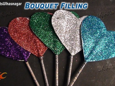 DIY Bouquet Heart Sticks from Paper | How to make | JK Arts 655