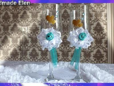 Handmade Wedding Glasses DIY   Taças Noivo e Noiva