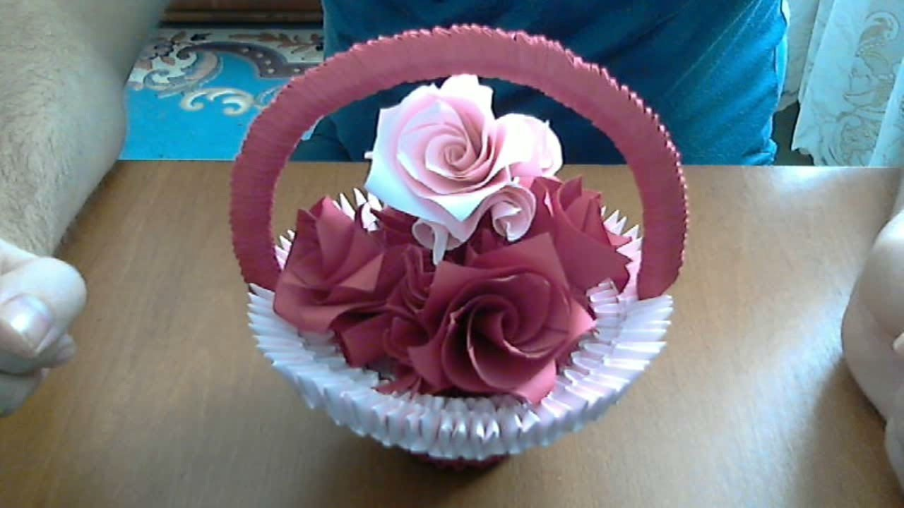 Origami How To Make 3d Origami Basket With Flowers Model 2 How