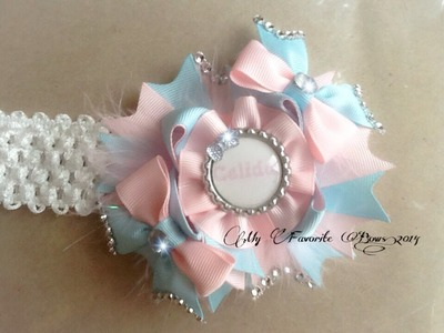 How to make & add a ribbon flower.detail to a hair bow