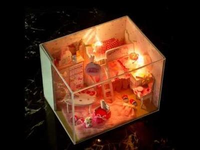Magic DIY Wood Dollhouse miniature with Furniture Dolls House Hello Kitty