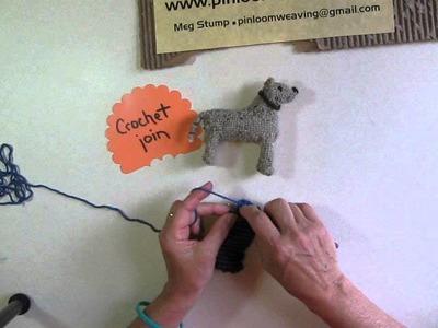 Using a single crochet join on pin loom weaving