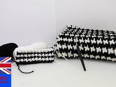 "Crochet Tutorial: How to crochet a scarf with the ""Puff Stich""-Technique - Black and White winter"