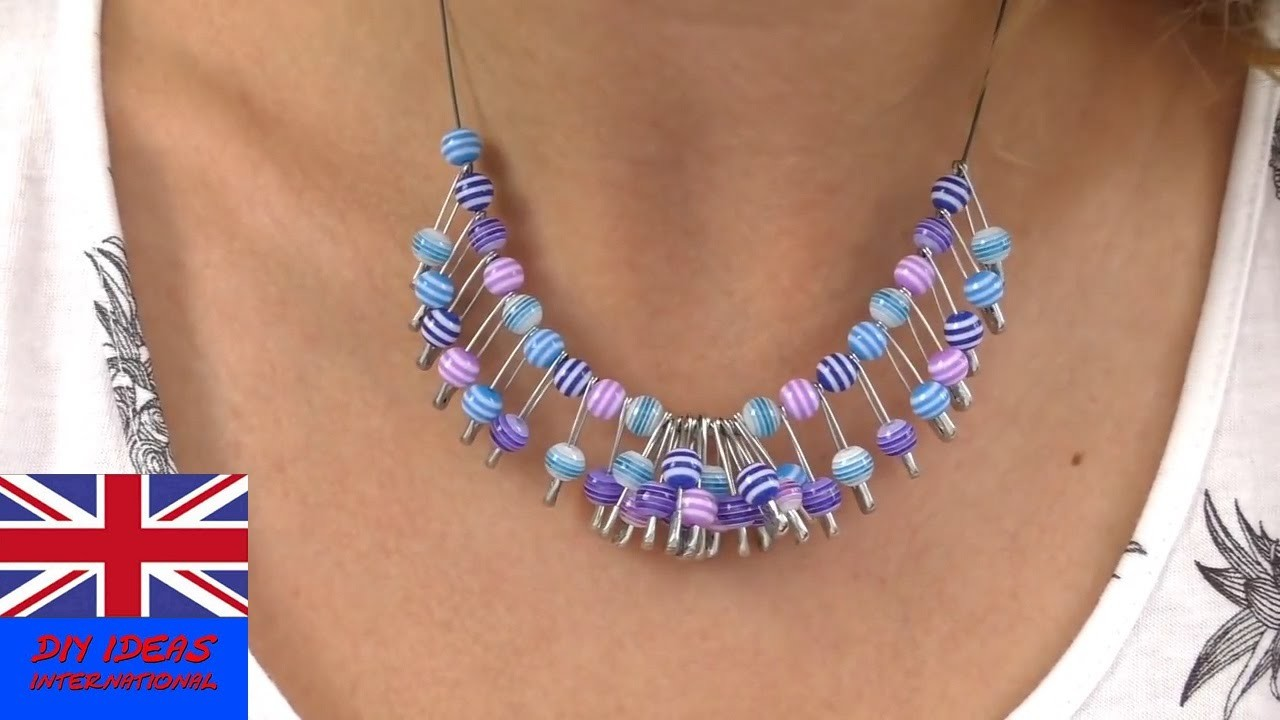 DIY Necklace tutorial: Necklace making at home - Necklace With Safety Pins and Beads!!