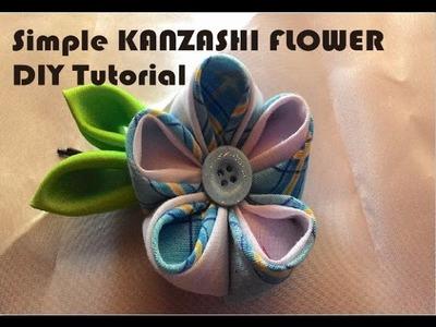 Simple kanzashi flower - DIY tutorial ,how to make it