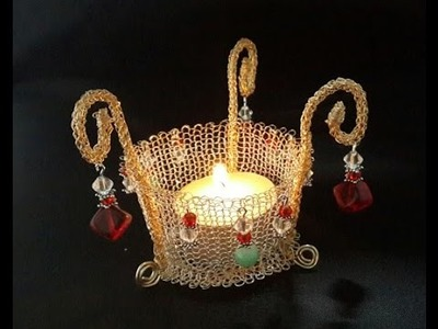 Wire crochet candle holder contest