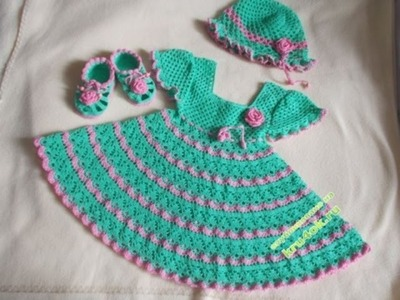 Crochet baby dress| How to crochet an easy shell stitch baby. girl's dress for beginners 182