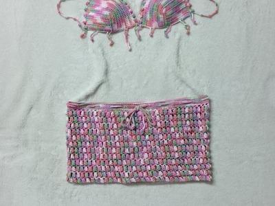 Crochet bikini underwear-skirt popcorn style P-1