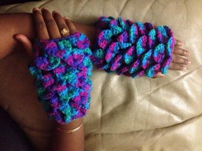 Crocodile stitch fingerless gloves crochet in Tamil.English