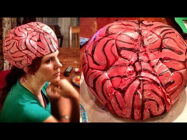 DIY Brain Hat Halloween Costume (AKA thinking cap or alien brain) - Mars Attacks costume Part 1