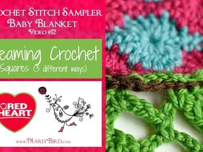 Seaming Crochet Squares (Crochet Stitch Sampler Baby Blanket Video #12)