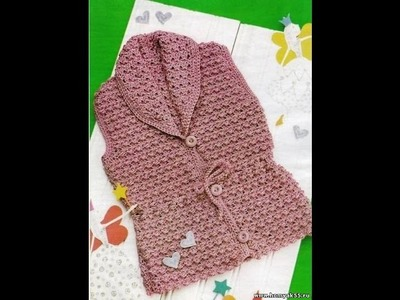 VERY EASY crochet cardigan. sweater. jumper tutorial - baby and child sizes 27