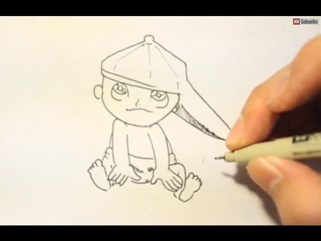 How To Draw A Baby With A Hat|Step by Step|Easy|Slow