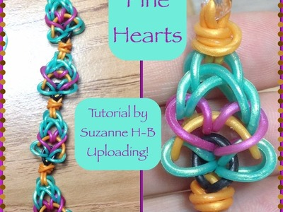 Pine Hearts bracelet.charm tutorial (hook only) rainbow loom bands