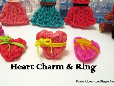 Rainbow Loom Heart Charm and Ring(Mother's Day) - How to - Emoji.Emoticon Series