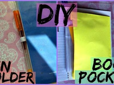 DIY Book Pocket & Pen Holder   DIY Back-to-School