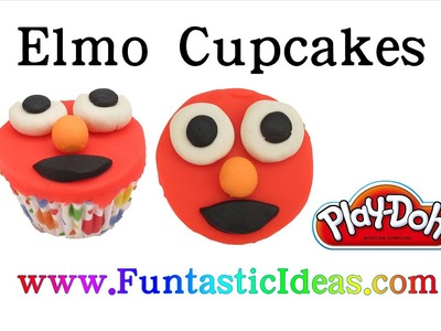 Easy Play Doh Elmo Cupcakes - How to tutorial with playdough by Funtastic Ideas