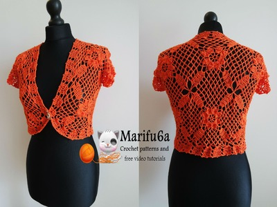 How to crochet easy bolero primavera from 10 squares all sizes free tutorial pattern