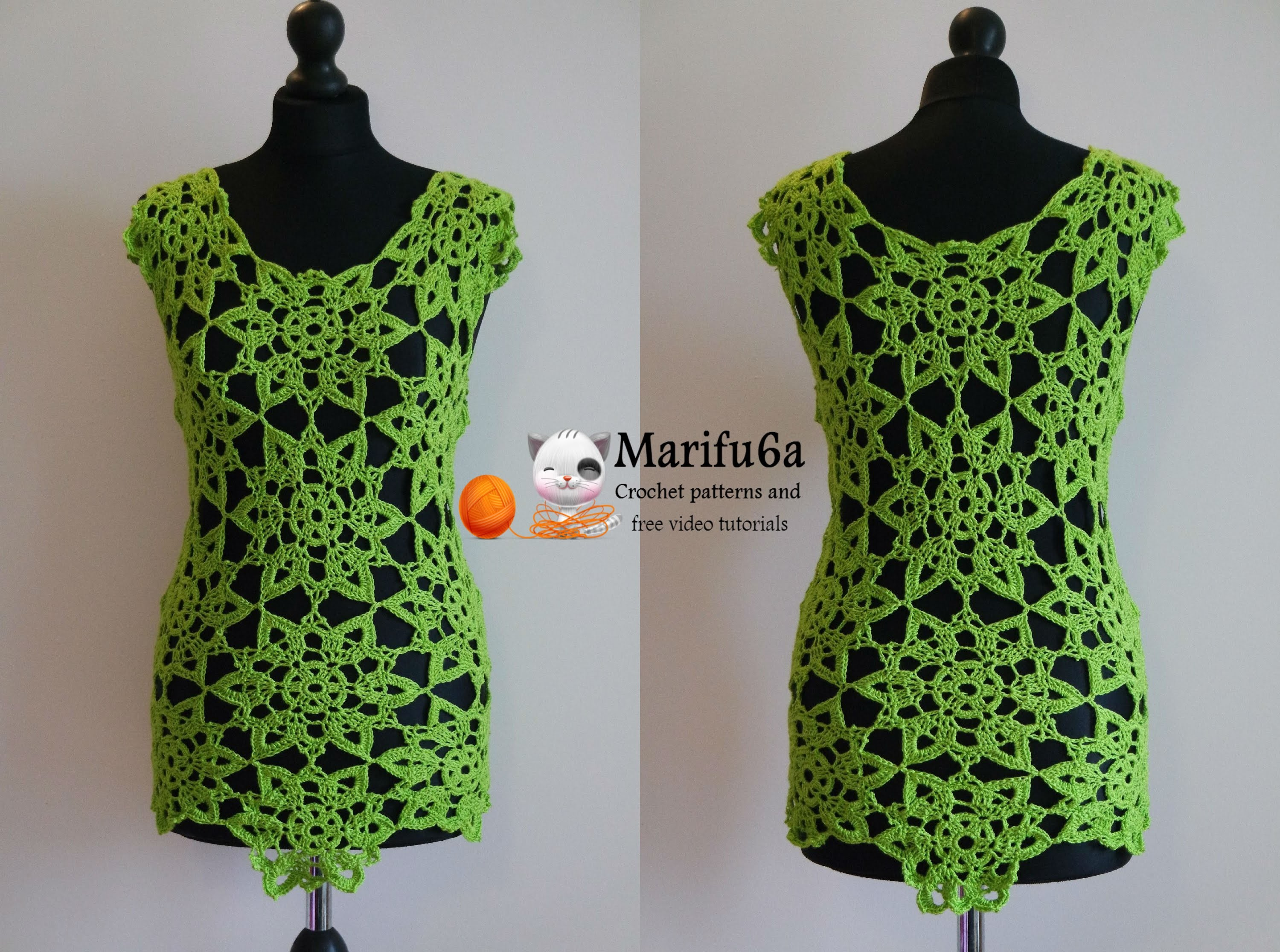 How to crochet lime top tunic with motifs free tutorial pattern by marifu6a