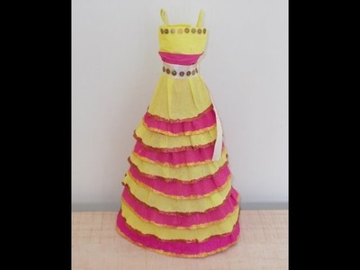 Kids Craft Ideas: How to Make a Doll Dress from Crepe Paper