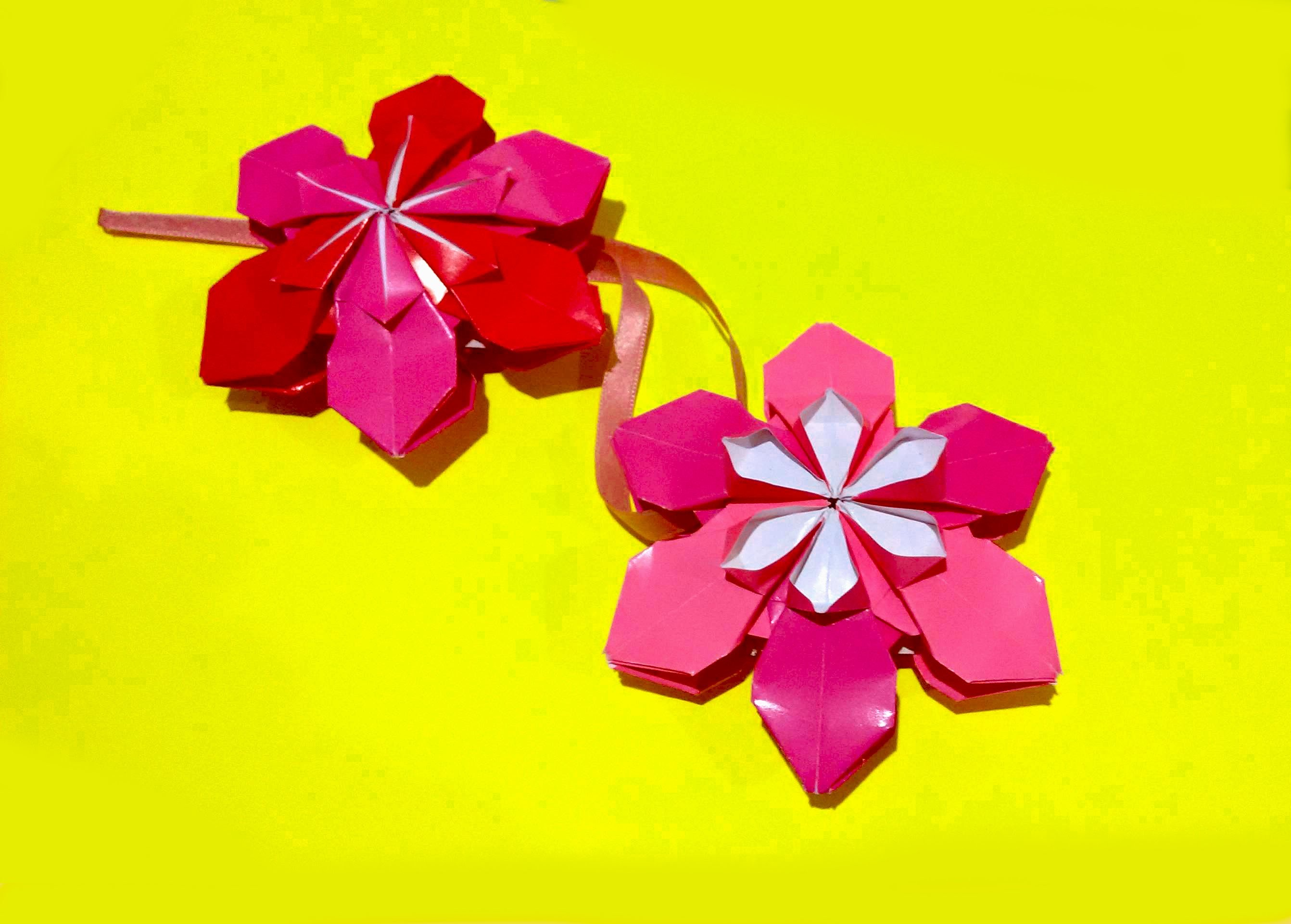 Origami flower ornament. DIY house decor. Amazing DIY necklace.