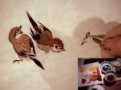Raggedy Sparrow Practice 5. Chinese Brush Painting Birds Animals Flowers